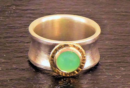 Chrysopras - Bandring Silber/Gelbgold