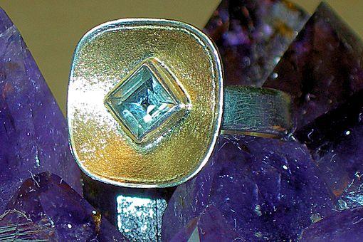 Bauchi-Aquamarin Silber/Gelbgoldring