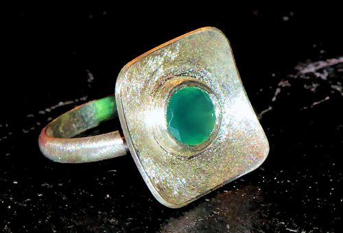 Grüner Chalcedon Silberring