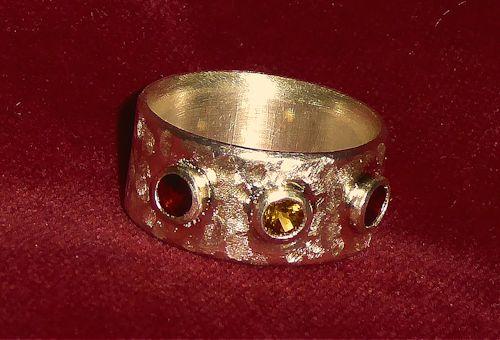 Citrin/Granat Silberbandring