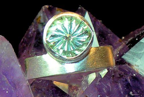 Grüner Amethyst Silberring