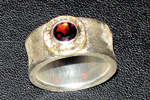 Granat - Bandring, Silber/Gelbgold