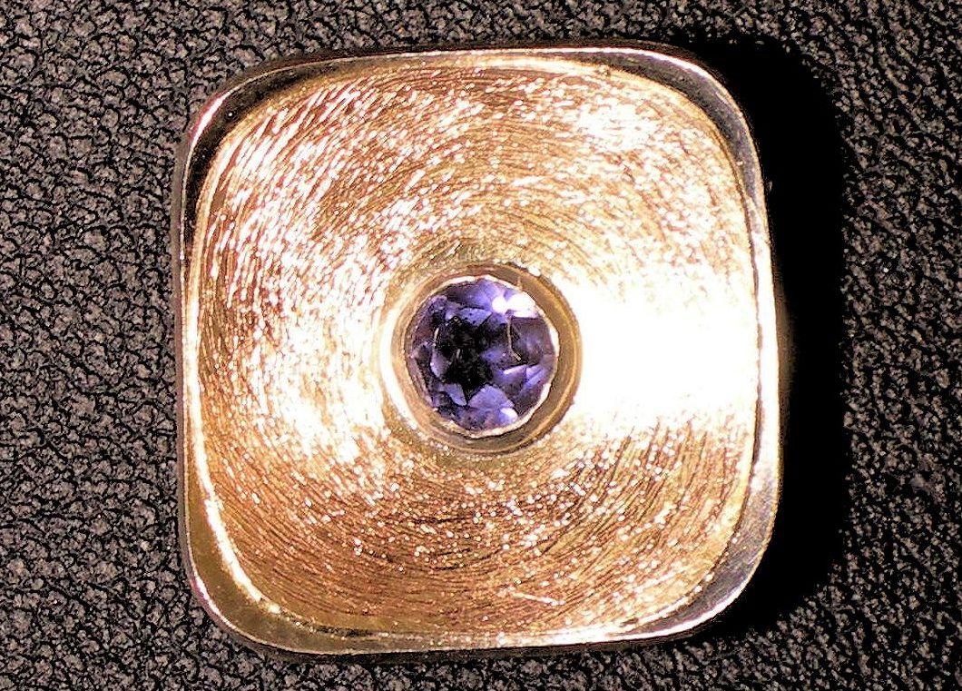 Ceylon Iolith Silber/Roségoldanhänger