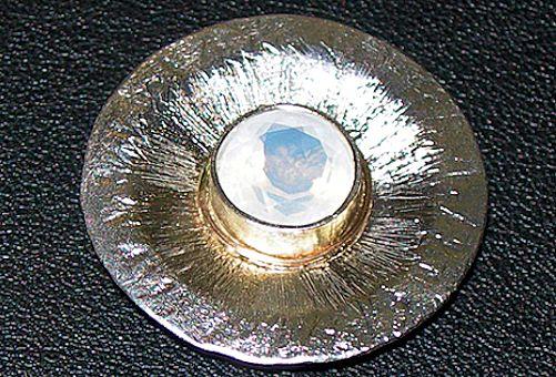 Rarität: Mondblauer Quarz Anhänger, Silber mit Gelbgold