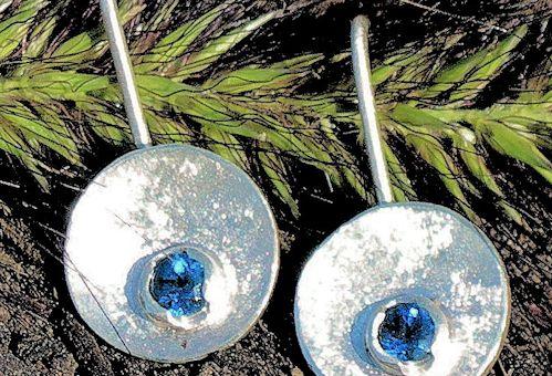 Königsblaue Apatit Silberohrringe